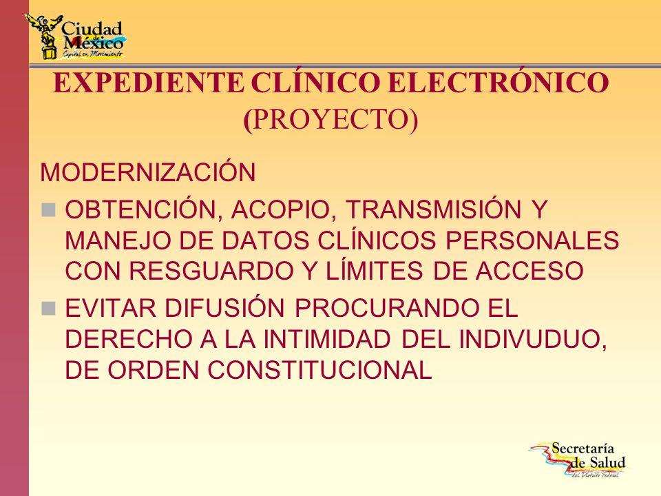 EXPEDIENTE CLÍNICO ELECTRÓNICO (PROYECTO) MODERNIZACIÓN OBTENCIÓN, ACOPIO, TRANSMISIÓN Y MANEJO DE DATOS CLÍNICOS PERSONALES CON RESGUARDO Y LÍMITES D
