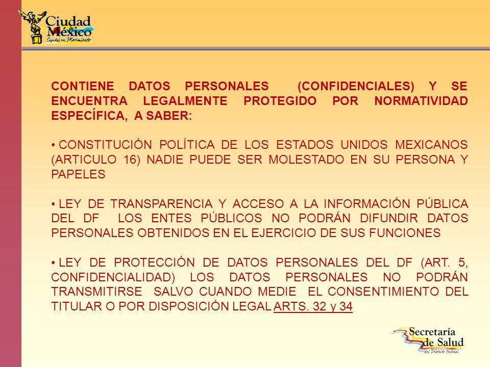 CONTIENE DATOS PERSONALES (CONFIDENCIALES) Y SE ENCUENTRA LEGALMENTE PROTEGIDO POR NORMATIVIDAD ESPECÍFICA, A SABER: CONSTITUCIÓN POLÍTICA DE LOS ESTA