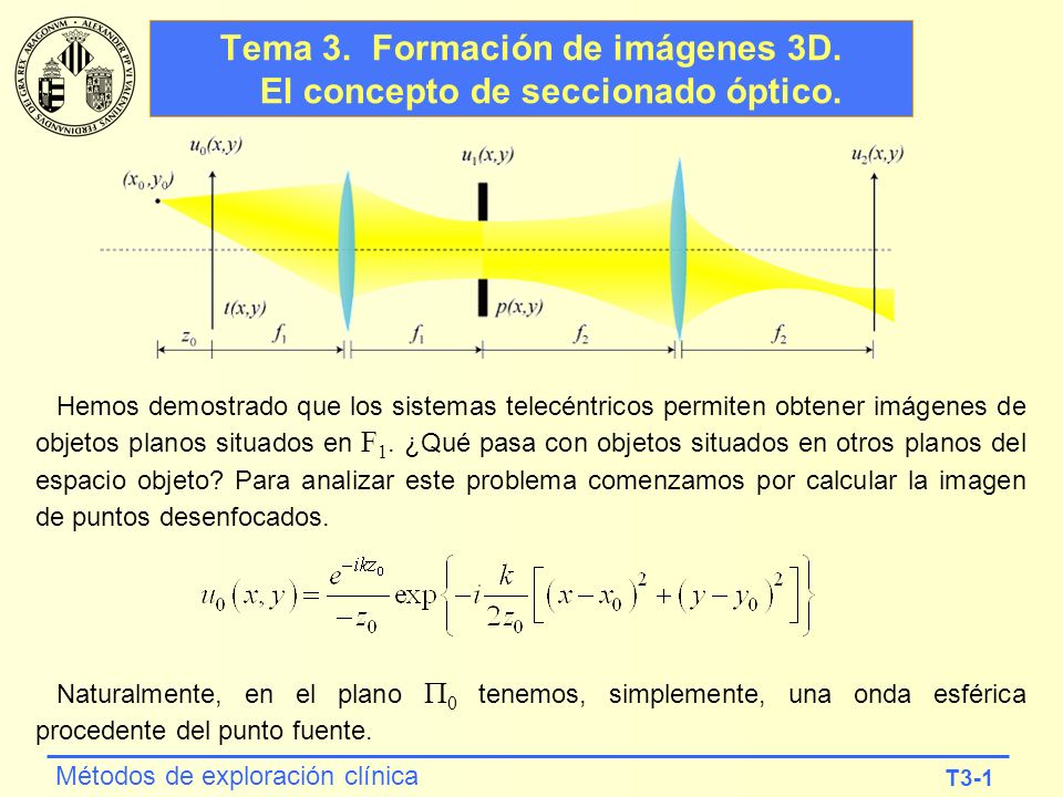 T3-1 Métodos de exploración clínica Tema 3. Formación de imágenes 3D. El concepto de seccionado óptico. Hemos demostrado que los sistemas telecéntrico