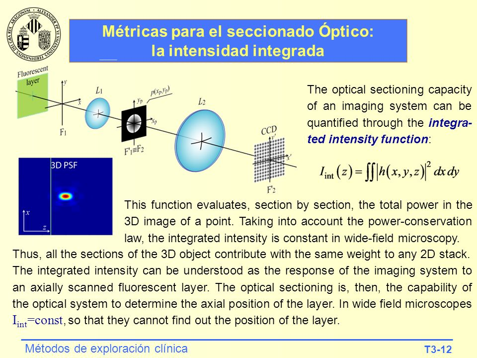 T3-12 Métodos de exploración clínica Métricas para el seccionado Óptico: la intensidad integrada The optical sectioning capacity of an imaging system