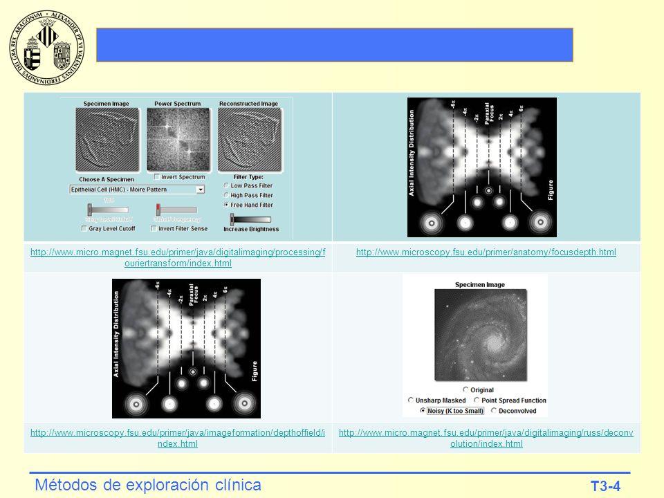 T3-4 Métodos de exploración clínica http://www.micro.magnet.fsu.edu/primer/java/digitalimaging/processing/f ouriertransform/index.html http://www.micr