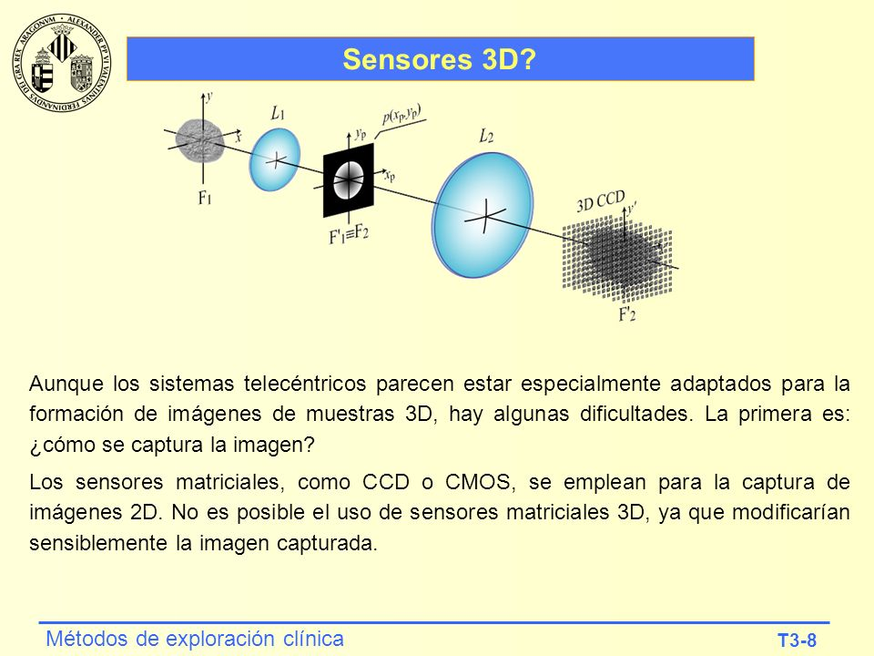 T3-8 Métodos de exploración clínica Sensores 3D? Aunque los sistemas telecéntricos parecen estar especialmente adaptados para la formación de imágenes