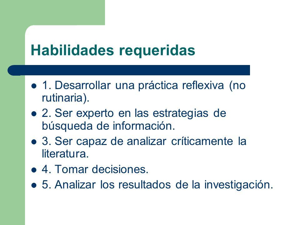 Habilidades requeridas 1. Desarrollar una práctica reflexiva (no rutinaria). 2. Ser experto en las estrategias de búsqueda de información. 3. Ser capa