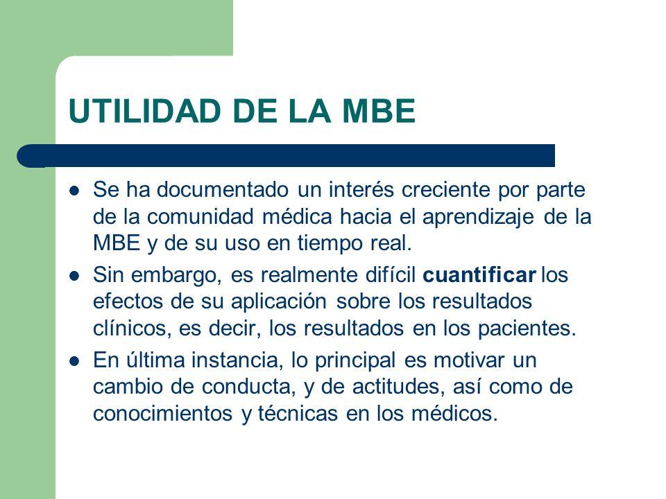 UTILIDAD DE LA MBE Se ha documentado un interés creciente por parte de la comunidad médica hacia el aprendizaje de la MBE y de su uso en tiempo real.