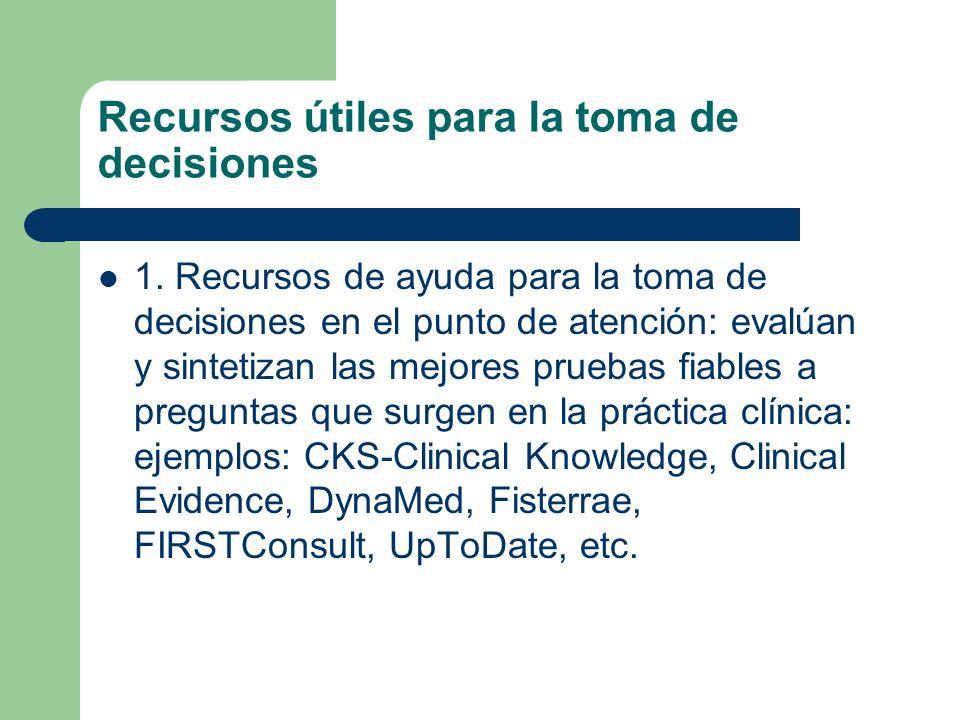 Recursos útiles para la toma de decisiones 1. Recursos de ayuda para la toma de decisiones en el punto de atención: evalúan y sintetizan las mejores p