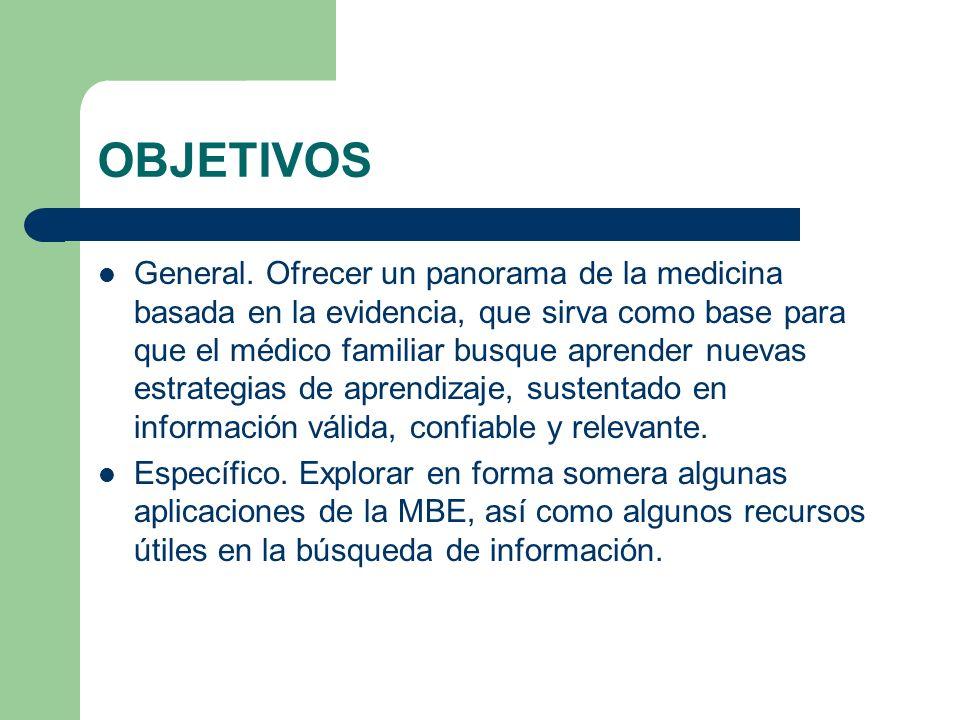 OBJETIVOS General. Ofrecer un panorama de la medicina basada en la evidencia, que sirva como base para que el médico familiar busque aprender nuevas e