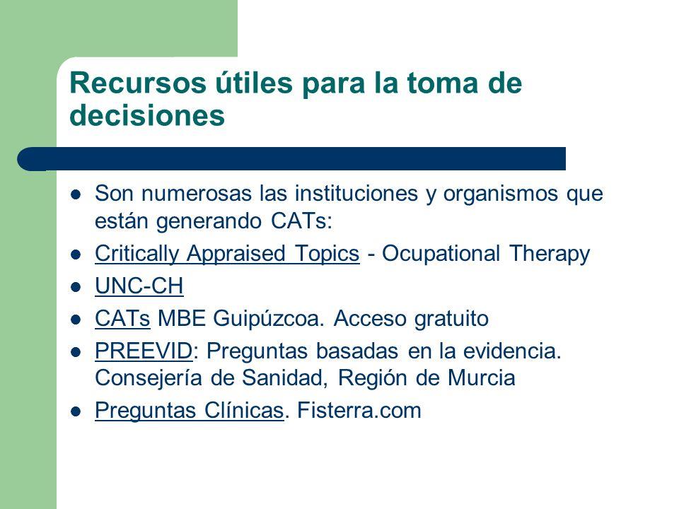 Recursos útiles para la toma de decisiones Son numerosas las instituciones y organismos que están generando CATs: Critically Appraised Topics - Ocupat