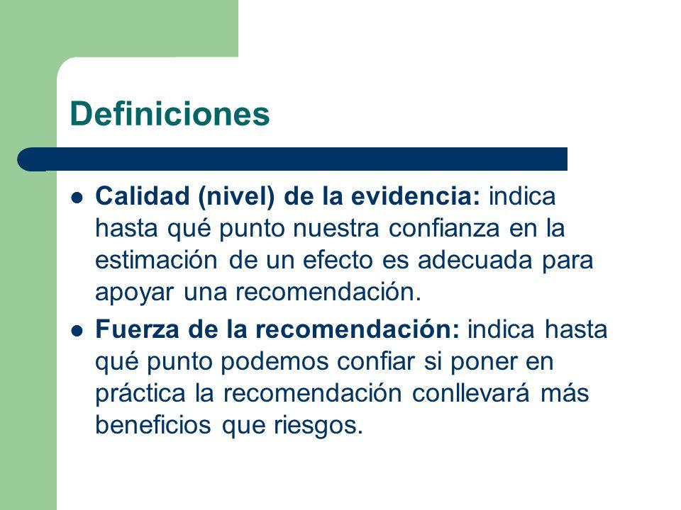 Definiciones Calidad (nivel) de la evidencia: indica hasta qué punto nuestra confianza en la estimación de un efecto es adecuada para apoyar una recom