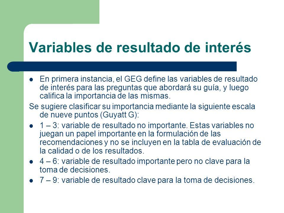Variables de resultado de interés En primera instancia, el GEG define las variables de resultado de interés para las preguntas que abordará su guía, y