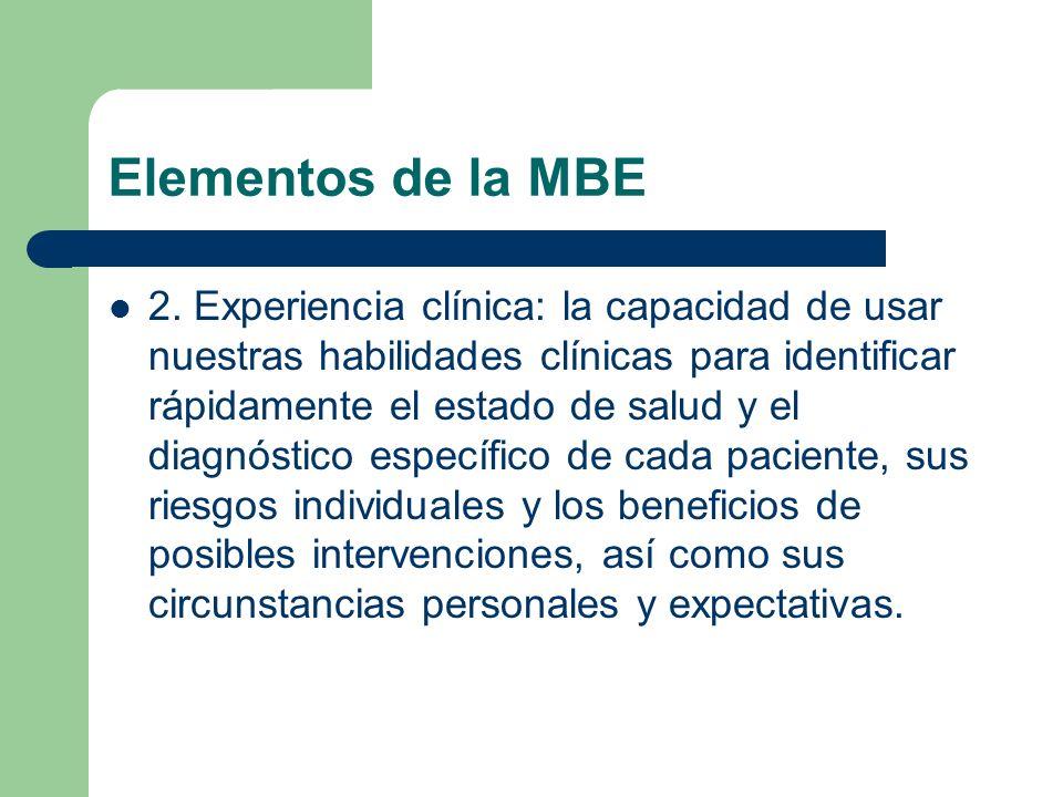 Elementos de la MBE 2. Experiencia clínica: la capacidad de usar nuestras habilidades clínicas para identificar rápidamente el estado de salud y el di