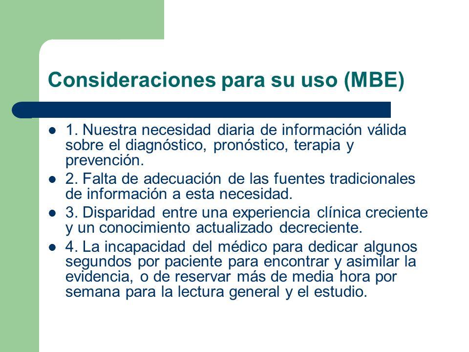 Consideraciones para su uso (MBE) 1. Nuestra necesidad diaria de información válida sobre el diagnóstico, pronóstico, terapia y prevención. 2. Falta d