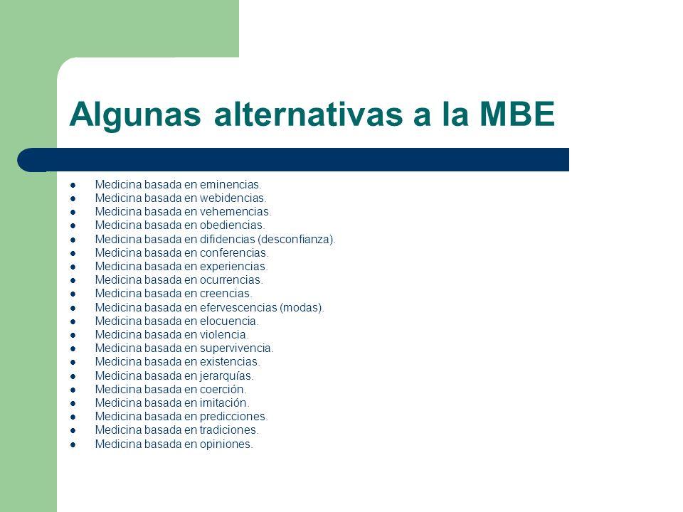Algunas alternativas a la MBE Medicina basada en eminencias. Medicina basada en webidencias. Medicina basada en vehemencias. Medicina basada en obedie