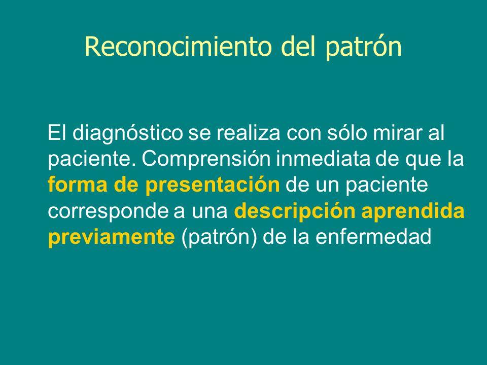Reconocimiento del patrón El diagnóstico se realiza con sólo mirar al paciente. Comprensión inmediata de que la forma de presentación de un paciente c