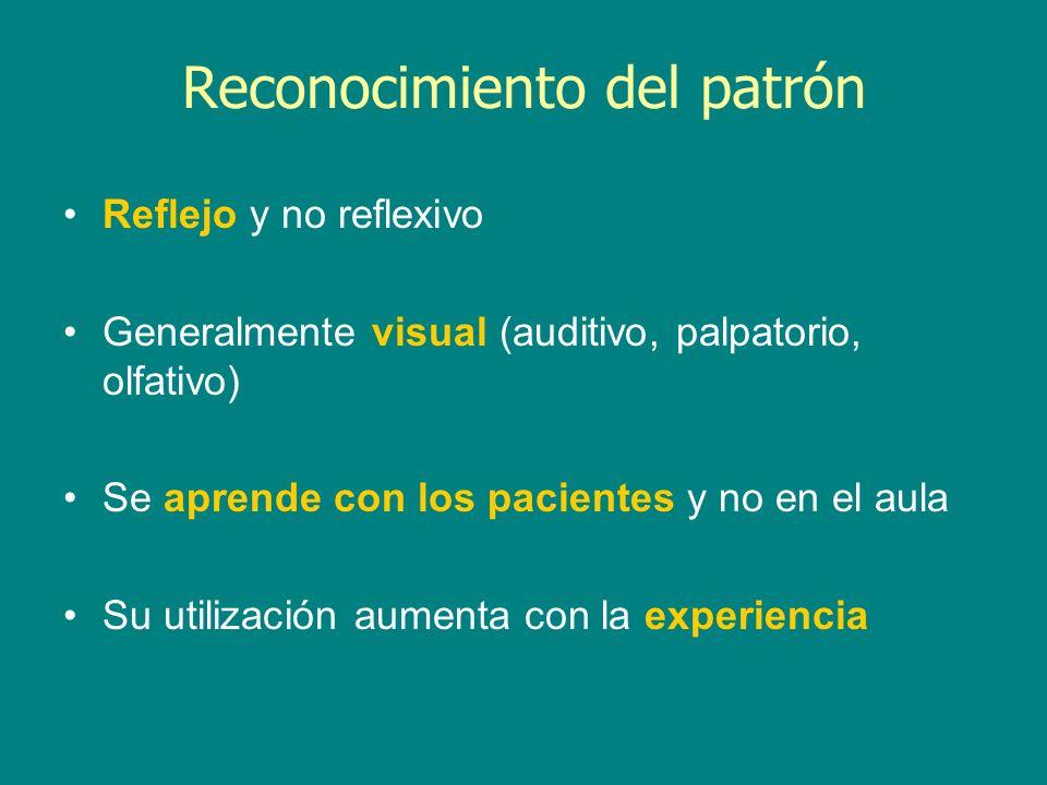 Reconocimiento del patrón Reflejo y no reflexivo Generalmente visual (auditivo, palpatorio, olfativo) Se aprende con los pacientes y no en el aula Su