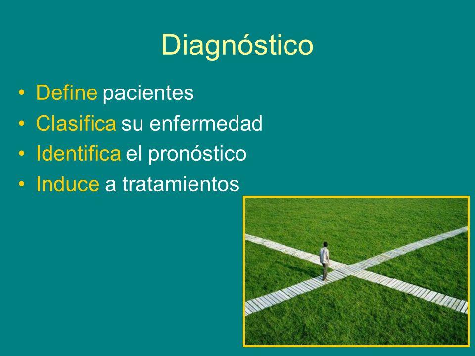 Diagnóstico Define pacientes Clasifica su enfermedad Identifica el pronóstico Induce a tratamientos