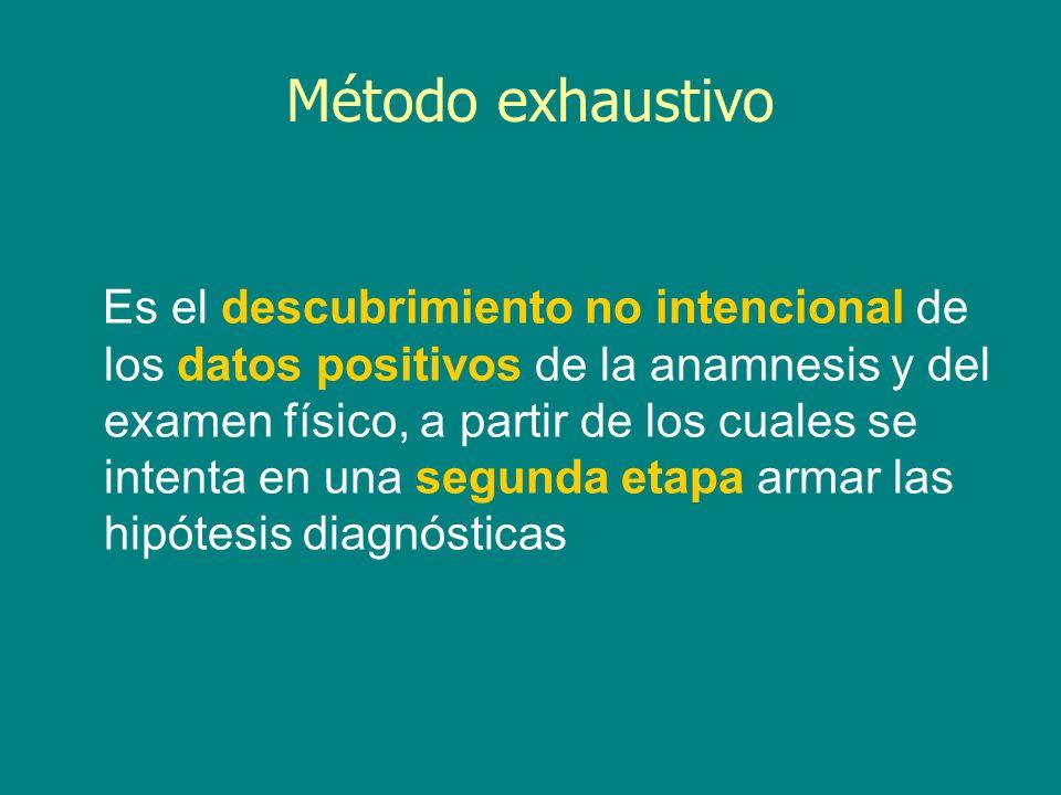 Es el descubrimiento no intencional de los datos positivos de la anamnesis y del examen físico, a partir de los cuales se intenta en una segunda etapa