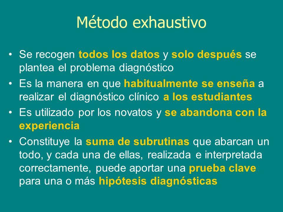 Método exhaustivo Se recogen todos los datos y solo después se plantea el problema diagnóstico Es la manera en que habitualmente se enseña a realizar
