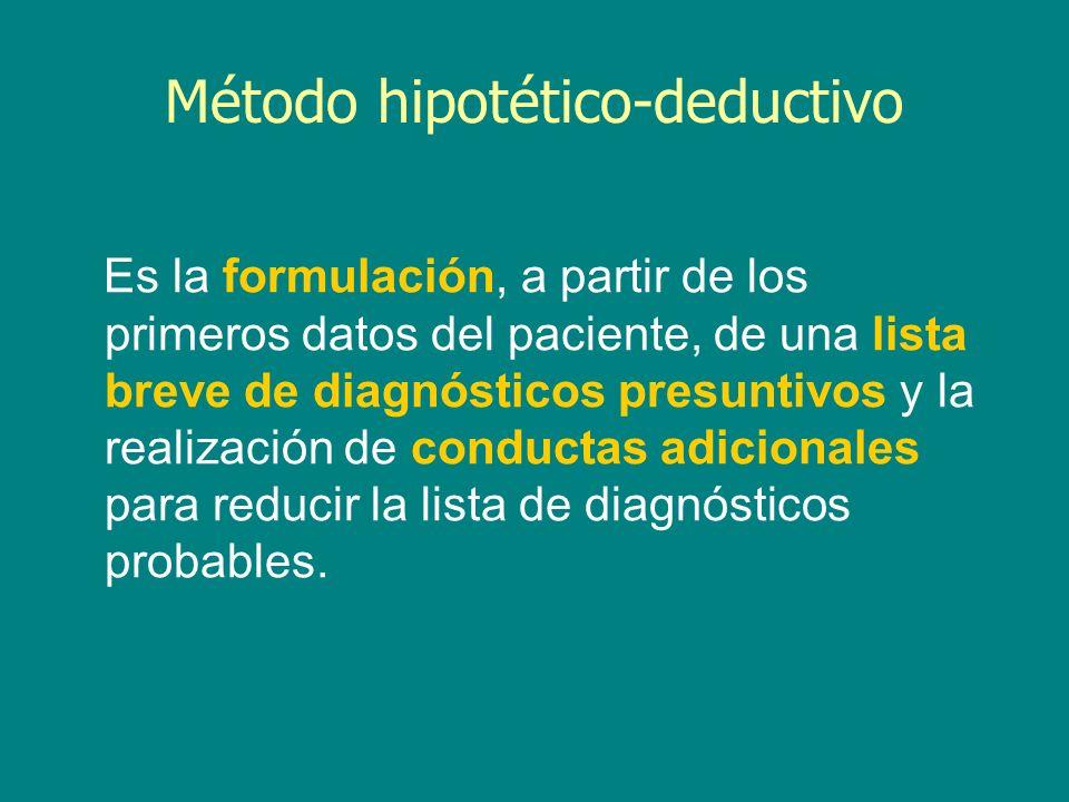 Método hipotético-deductivo Es la formulación, a partir de los primeros datos del paciente, de una lista breve de diagnósticos presuntivos y la realiz