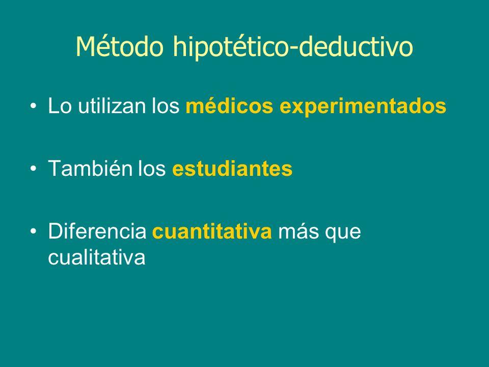 Método hipotético-deductivo Lo utilizan los médicos experimentados También los estudiantes Diferencia cuantitativa más que cualitativa