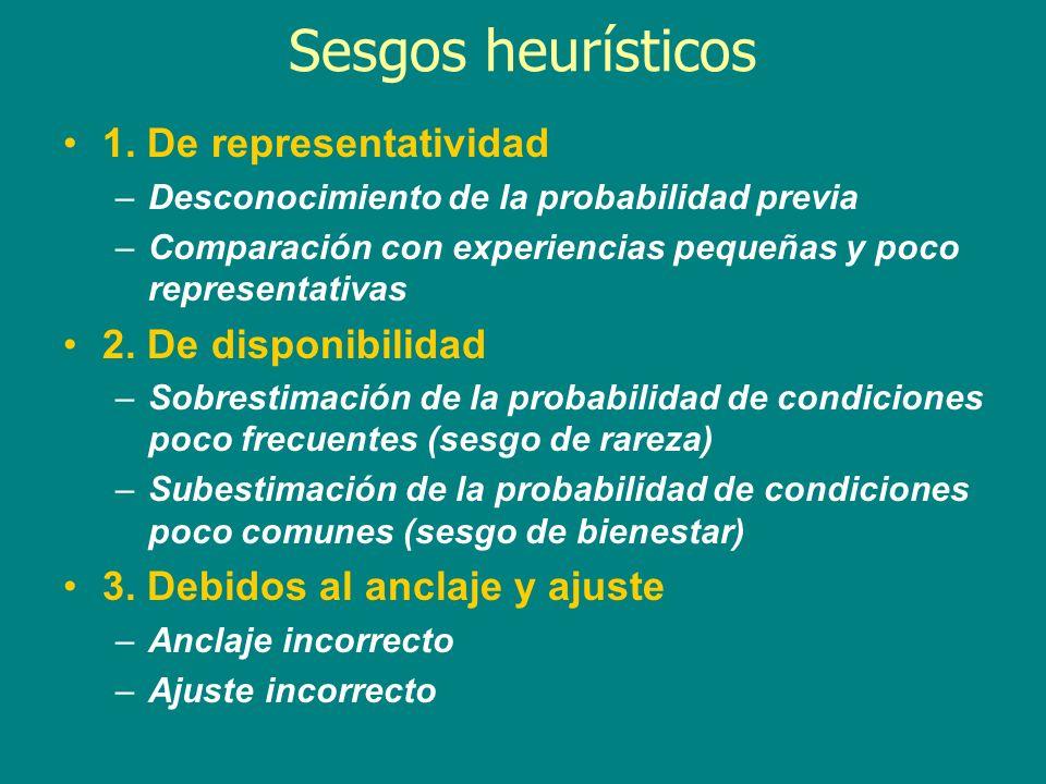 Sesgos heurísticos 1. De representatividad –Desconocimiento de la probabilidad previa –Comparación con experiencias pequeñas y poco representativas 2.