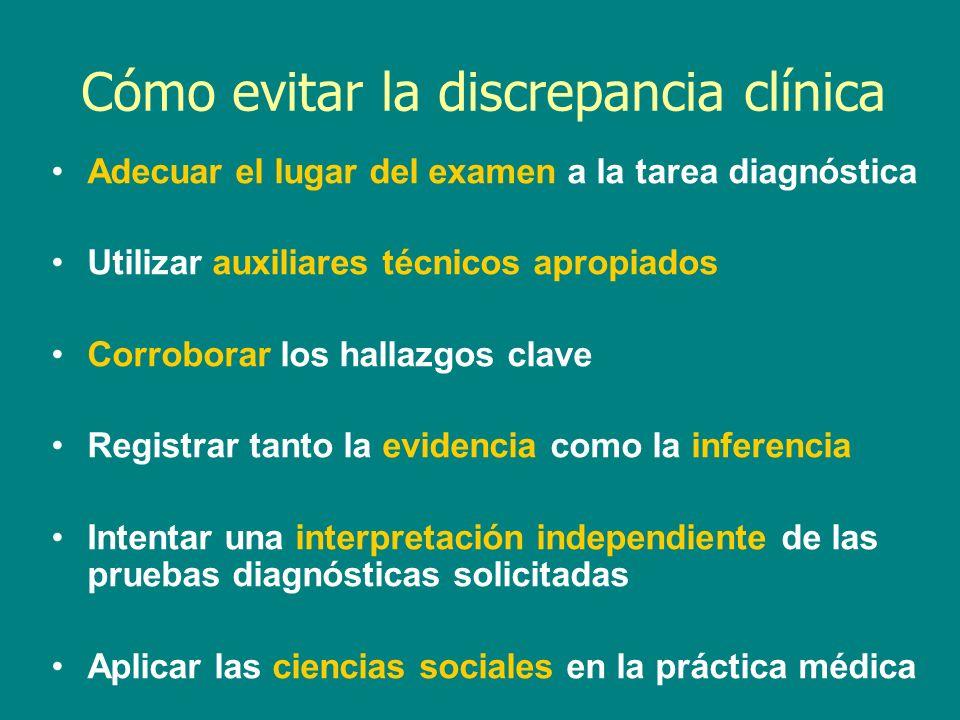 Cómo evitar la discrepancia clínica Adecuar el lugar del examen a la tarea diagnóstica Utilizar auxiliares técnicos apropiados Corroborar los hallazgo