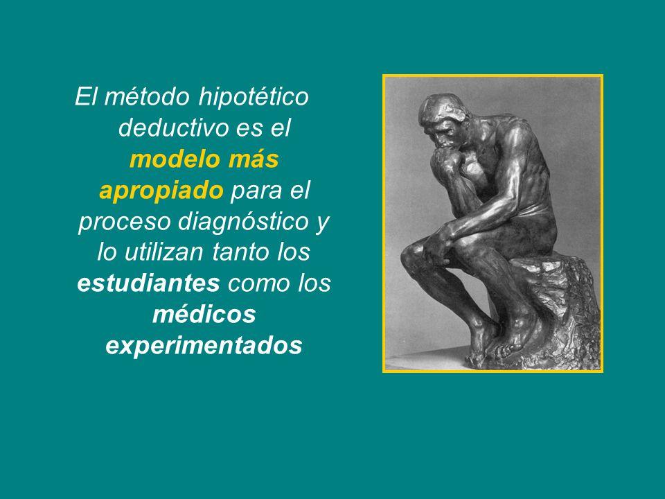 El método hipotético deductivo es el modelo más apropiado para el proceso diagnóstico y lo utilizan tanto los estudiantes como los médicos experimenta