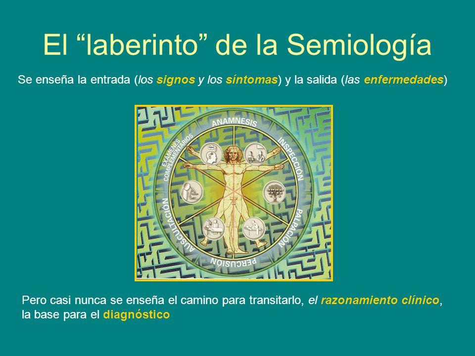 El laberinto de la Semiología Se enseña la entrada (los signos y los síntomas) y la salida (las enfermedades) Pero casi nunca se enseña el camino para