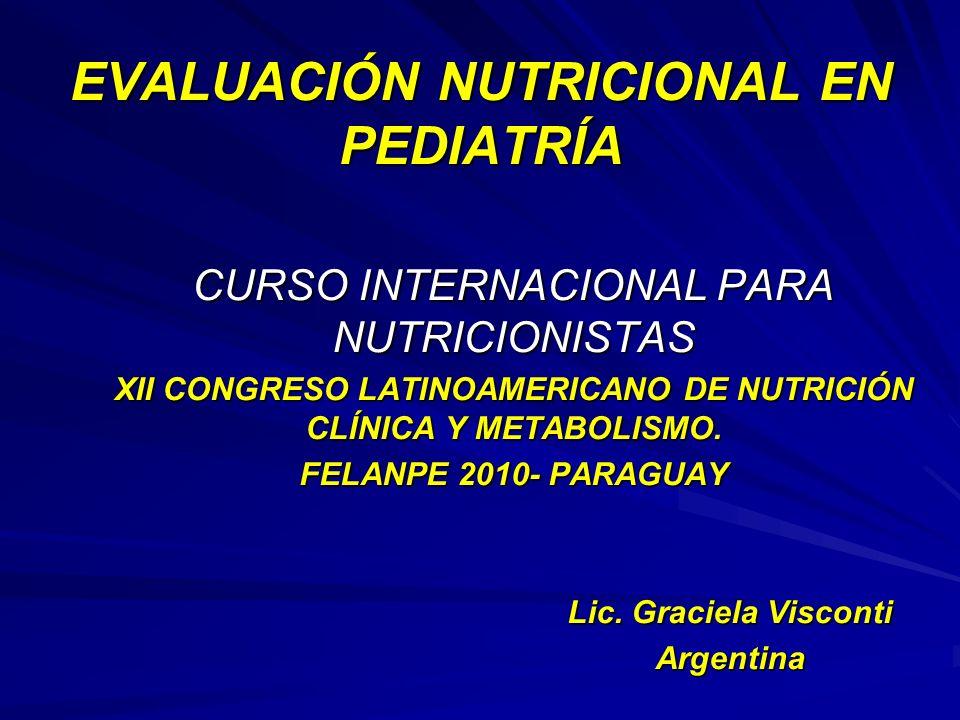 EVALUACIÓN NUTRICIONAL EN PEDIATRÍA CURSO INTERNACIONAL PARA NUTRICIONISTAS XII CONGRESO LATINOAMERICANO DE NUTRICIÓN CLÍNICA Y METABOLISMO. FELANPE 2