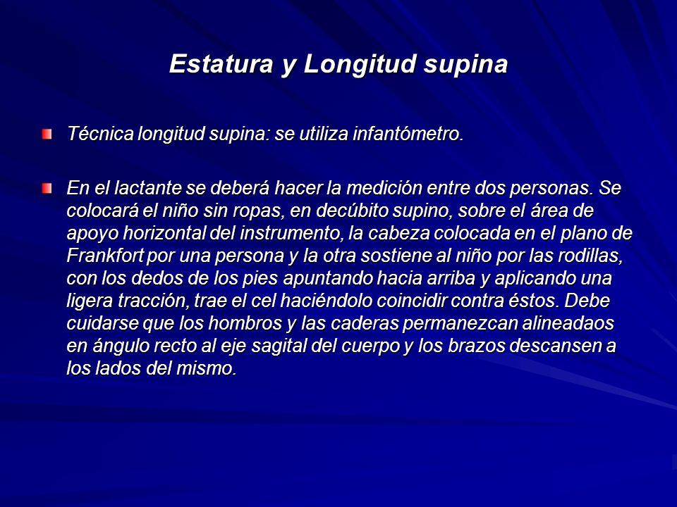 Estatura y Longitud supina Técnica longitud supina: se utiliza infantómetro. En el lactante se deberá hacer la medición entre dos personas. Se colocar