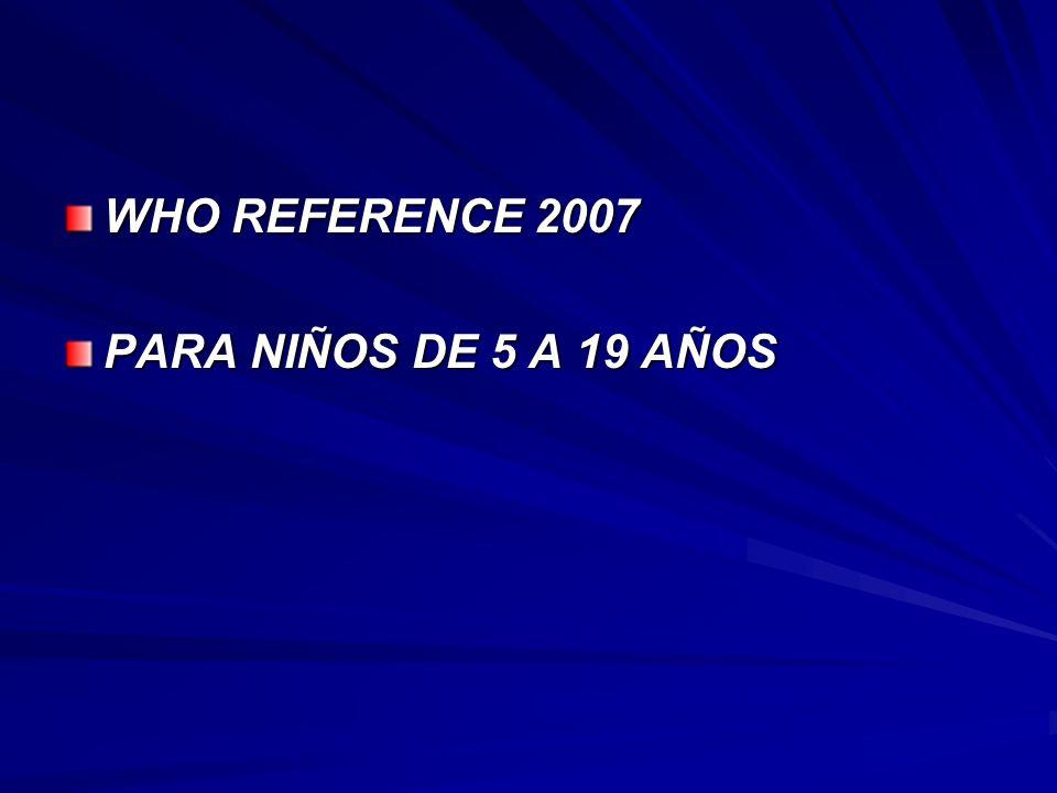 WHO REFERENCE 2007 PARA NIÑOS DE 5 A 19 AÑOS