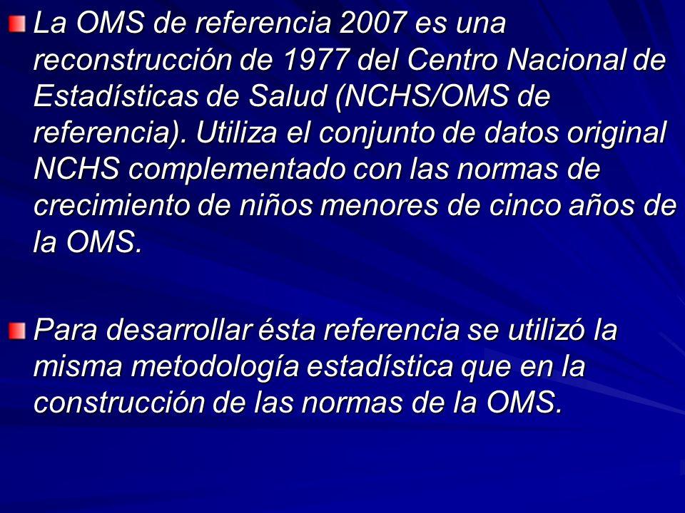 La OMS de referencia 2007 es una reconstrucción de 1977 del Centro Nacional de Estadísticas de Salud (NCHS/OMS de referencia). Utiliza el conjunto de