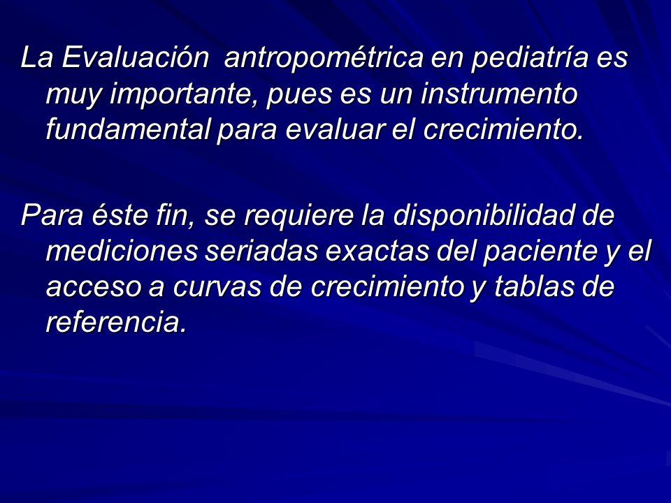 La Evaluación antropométrica en pediatría es muy importante, pues es un instrumento fundamental para evaluar el crecimiento. Para éste fin, se requier