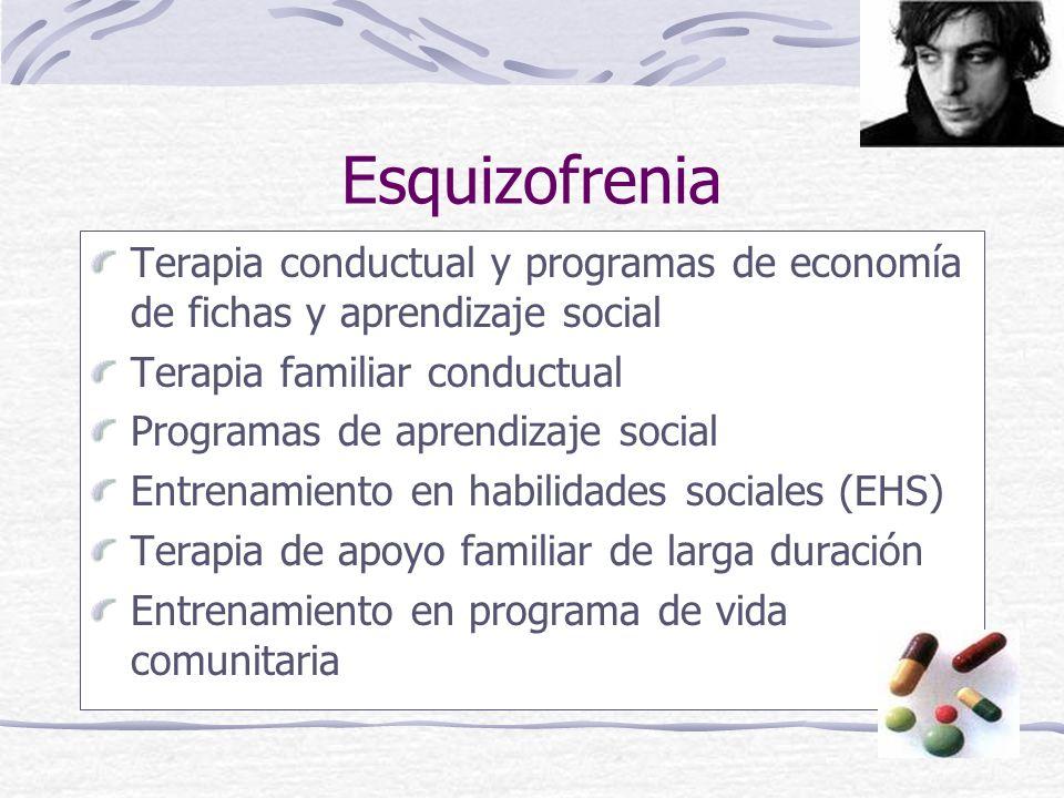 Esquizofrenia Terapia conductual y programas de economía de fichas y aprendizaje social Terapia familiar conductual Programas de aprendizaje social Entrenamiento en habilidades sociales (EHS) Terapia de apoyo familiar de larga duración Entrenamiento en programa de vida comunitaria