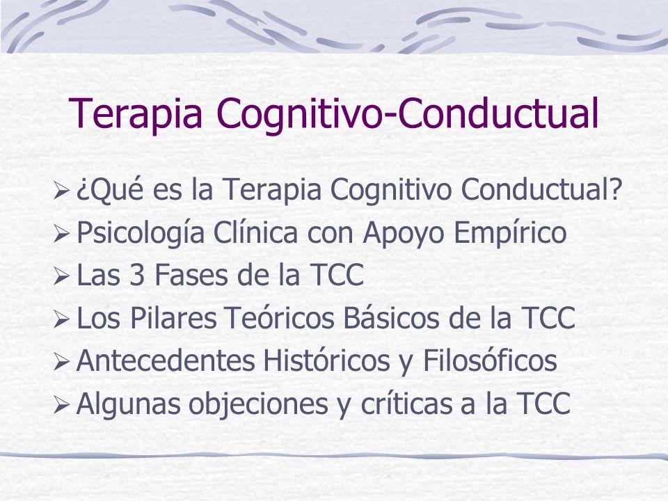 Eficacia probable en otros problemas de salud (Adultos) Efectos colaterales de la quimioterapia para pacientes con cáncer Relajación muscular progresiva (RMP) Dolor crónico heterogéneoTCC con terapia física, biofeedback electromiográfico, terapia conductual operante Síndrome de intestinos irritablesTerapia cognitiva, hipnoterapia, TCC ObesidadHipnosis con TCC MigrañaBiofeedback electromiográfico y térmico + entrenamiento en relajación Dolor por enfermedad reumática y por enfermedad de célula falsiforme Terapia cognitiva y TCC Trastornos de dolor somatoformeTCC Parafilias / Abusadores sexualesTerapia conductual InsomnioTCC para trastorno de sueño geriátricos
