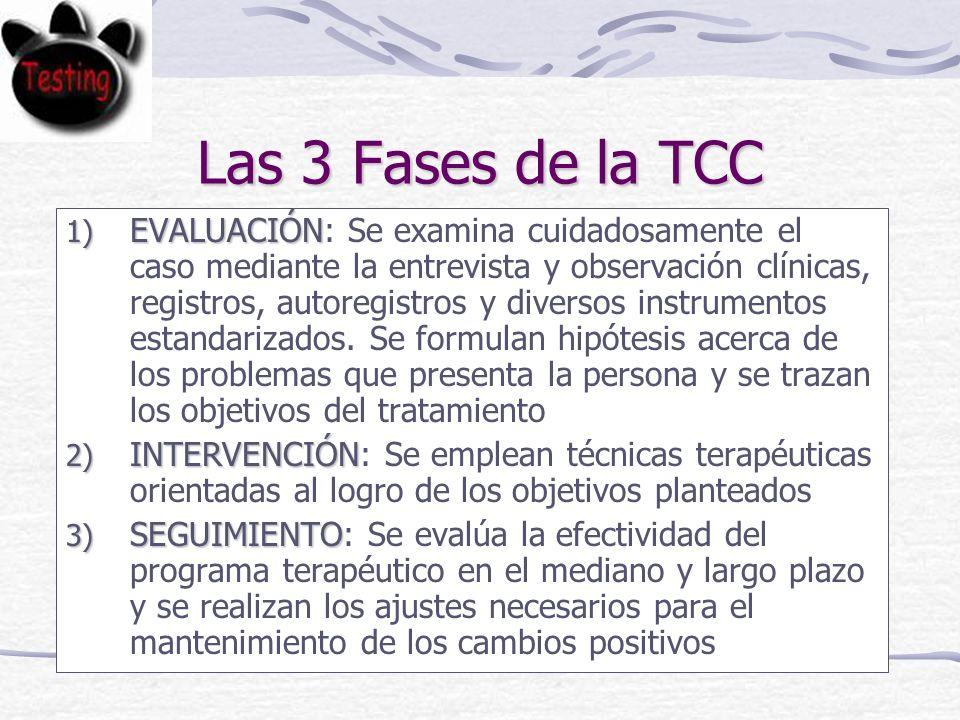 Las 3 Fases de la TCC 1) EVALUACIÓN 1) EVALUACIÓN: Se examina cuidadosamente el caso mediante la entrevista y observación clínicas, registros, autoregistros y diversos instrumentos estandarizados.