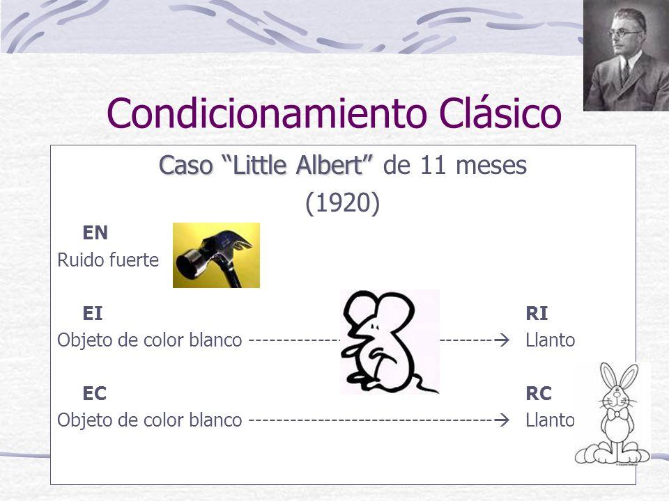 Caso Little Albert Caso Little Albert de 11 meses (1920) EN Ruido fuerte EIRI Objeto de color blanco ------------------------------------ Llanto ECRC Objeto de color blanco ------------------------------------ Llanto
