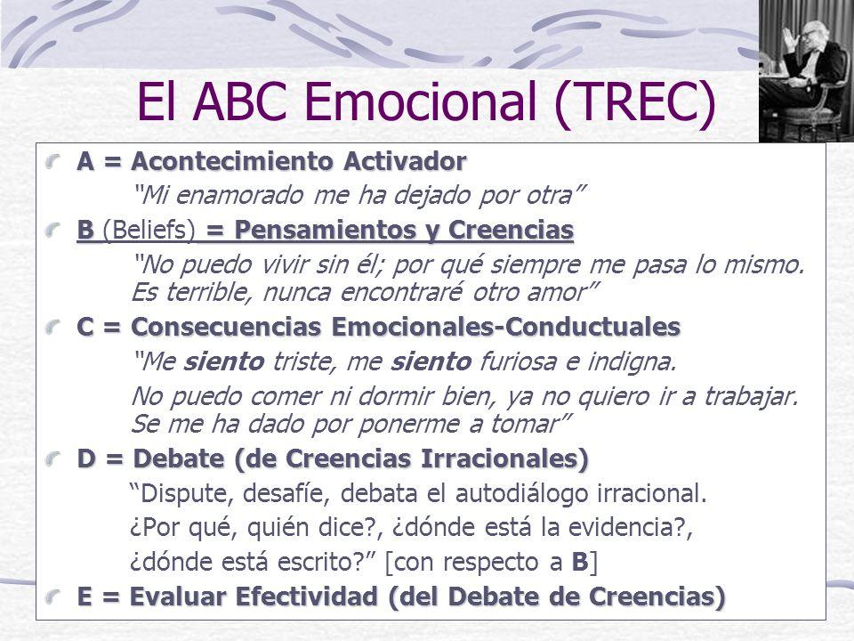 El ABC Emocional (TREC) A = Acontecimiento Activador Mi enamorado me ha dejado por otra B = Pensamientos y Creencias B (Beliefs) = Pensamientos y Creencias No puedo vivir sin él; por qué siempre me pasa lo mismo.