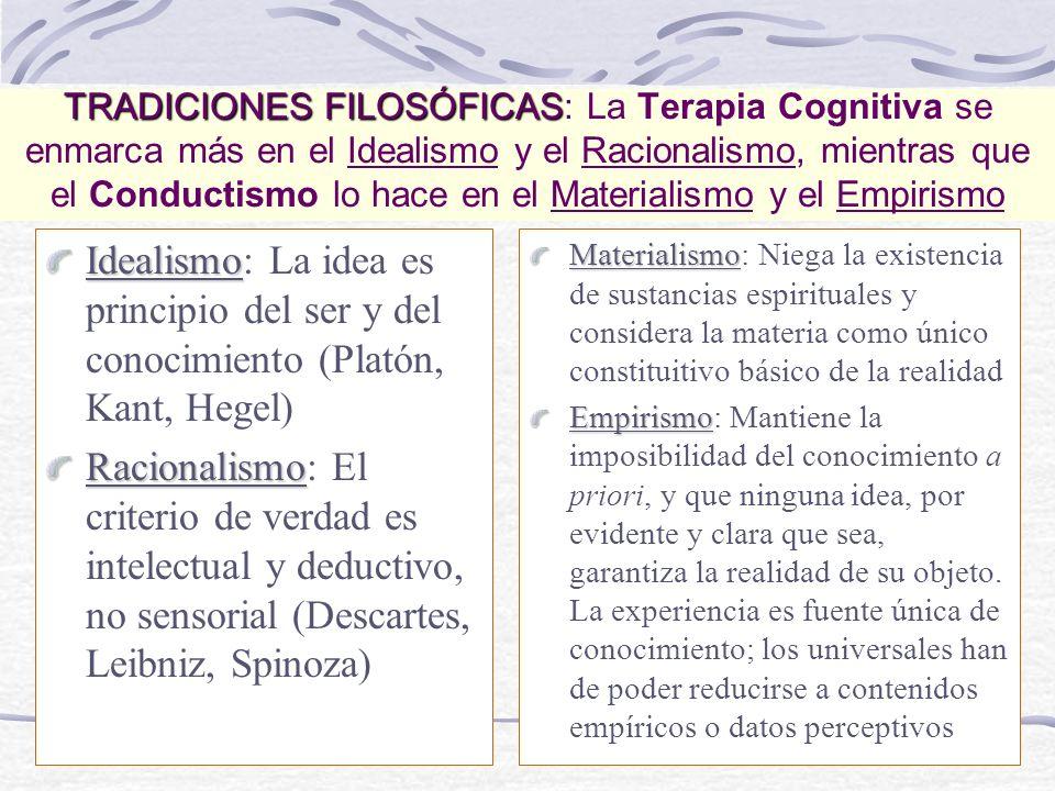 TRADICIONES FILOSÓFICAS TRADICIONES FILOSÓFICAS: La Terapia Cognitiva se enmarca más en el Idealismo y el Racionalismo, mientras que el Conductismo lo hace en el Materialismo y el Empirismo Idealismo Idealismo: La idea es principio del ser y del conocimiento (Platón, Kant, Hegel) Racionalismo Racionalismo: El criterio de verdad es intelectual y deductivo, no sensorial (Descartes, Leibniz, Spinoza) Materialismo Materialismo: Niega la existencia de sustancias espirituales y considera la materia como único constituitivo básico de la realidad Empirismo Empirismo: Mantiene la imposibilidad del conocimiento a priori, y que ninguna idea, por evidente y clara que sea, garantiza la realidad de su objeto.