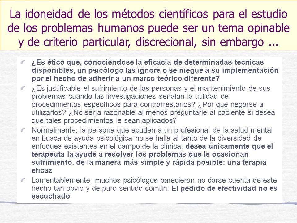 ¿Es ético que, conociéndose la eficacia de determinadas técnicas disponibles, un psicólogo las ignore o se niegue a su implementación por el hecho de adherir a un marco teórico diferente.