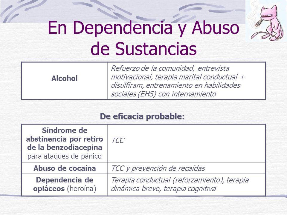 En Dependencia y Abuso de Sustancias Alcohol Refuerzo de la comunidad, entrevista motivacional, terapia marital conductual + disulfiram, entrenamiento en habilidades sociales (EHS) con internamiento De eficacia probable: Síndrome de abstinencia por retiro de la benzodiacepina para ataques de pánico TCC Abuso de cocaínaTCC y prevención de recaídas Dependencia de opiáceos (heroína) Terapia conductual (reforzamiento), terapia dinámica breve, terapia cognitiva