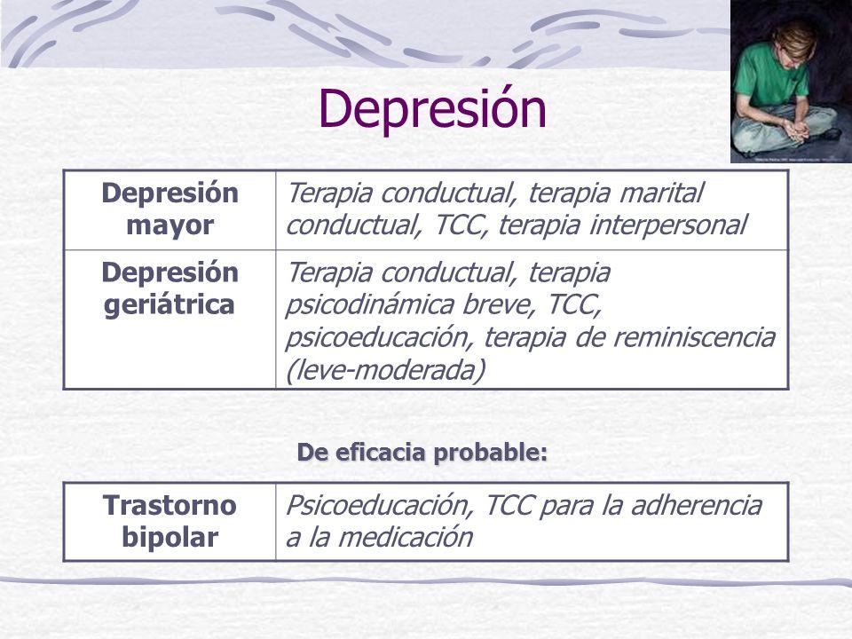 Depresión Depresión mayor Terapia conductual, terapia marital conductual, TCC, terapia interpersonal Depresión geriátrica Terapia conductual, terapia psicodinámica breve, TCC, psicoeducación, terapia de reminiscencia (leve-moderada) Trastorno bipolar Psicoeducación, TCC para la adherencia a la medicación De eficacia probable: