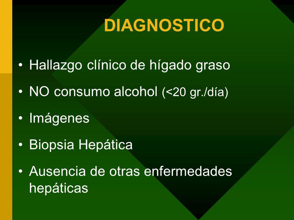 DIAGNOSTICO Hallazgo clínico de hígado graso NO consumo alcohol (<20 gr./día) Imágenes Biopsia Hepática Ausencia de otras enfermedades hepáticas