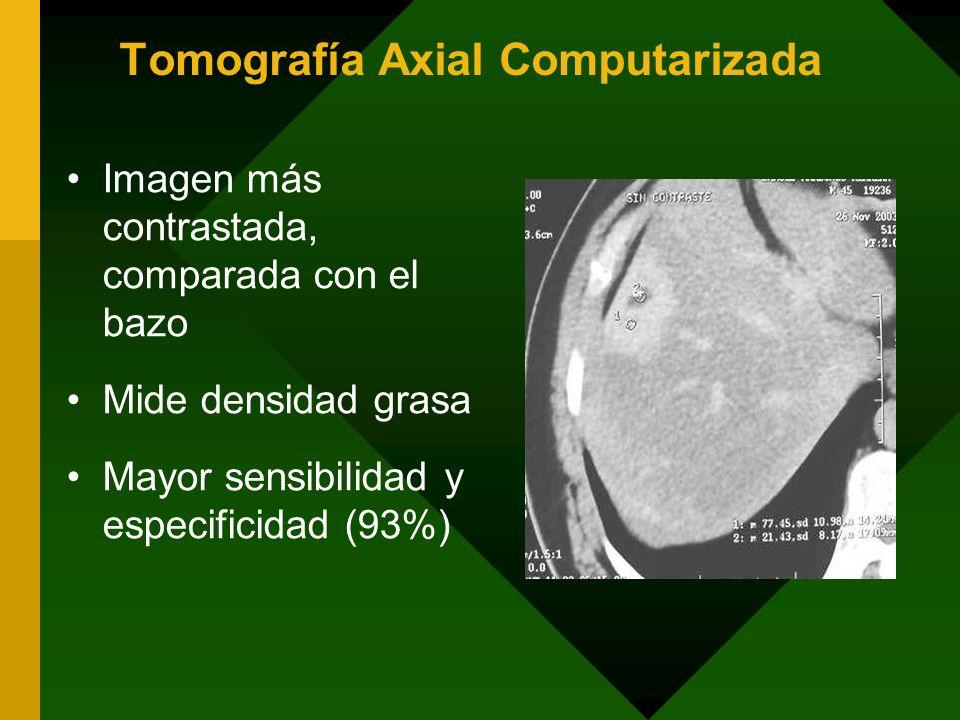Tomografía Axial Computarizada Imagen más contrastada, comparada con el bazo Mide densidad grasa Mayor sensibilidad y especificidad (93%)