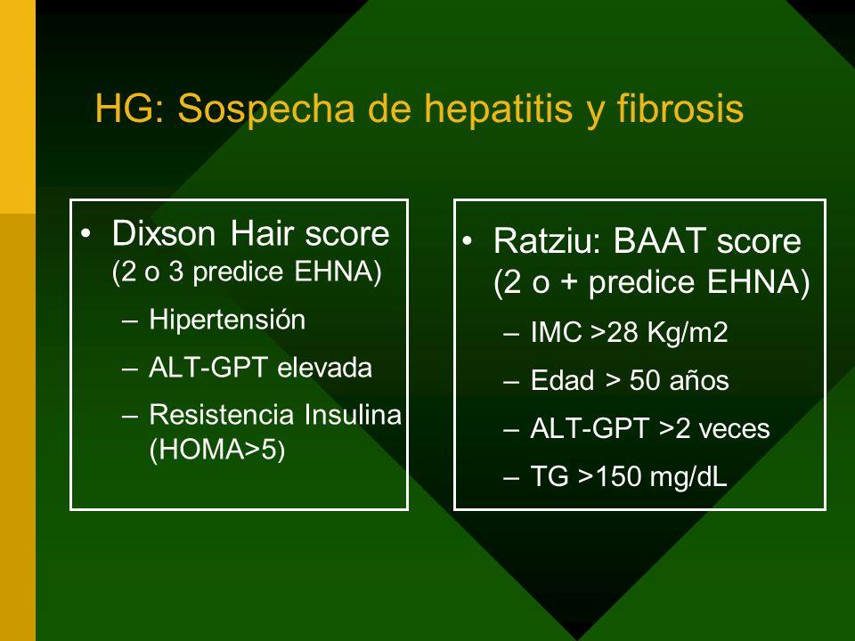 HG: Sospecha de hepatitis y fibrosis Dixson Hair score (2 o 3 predice EHNA) –Hipertensión –ALT-GPT elevada –Resistencia Insulina (HOMA>5 ) Ratziu: BAA