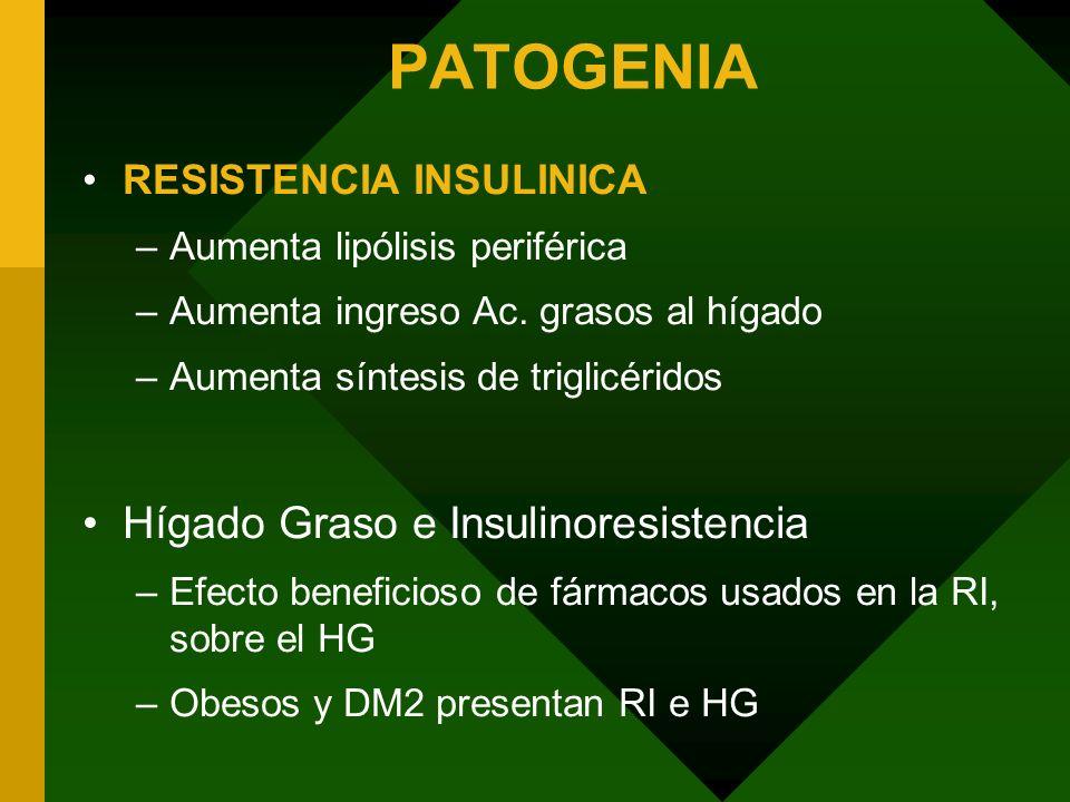 PATOGENIA RESISTENCIA INSULINICA –Aumenta lipólisis periférica –Aumenta ingreso Ac. grasos al hígado –Aumenta síntesis de triglicéridos Hígado Graso e