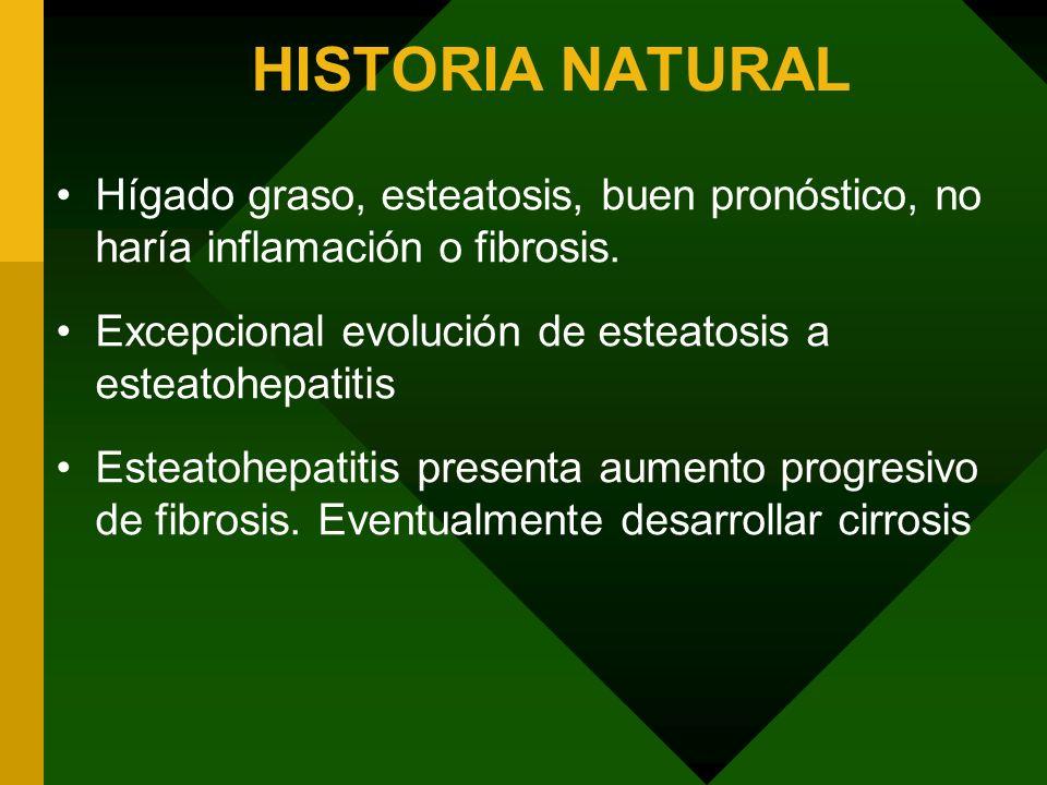 HISTORIA NATURAL Hígado graso, esteatosis, buen pronóstico, no haría inflamación o fibrosis. Excepcional evolución de esteatosis a esteatohepatitis Es