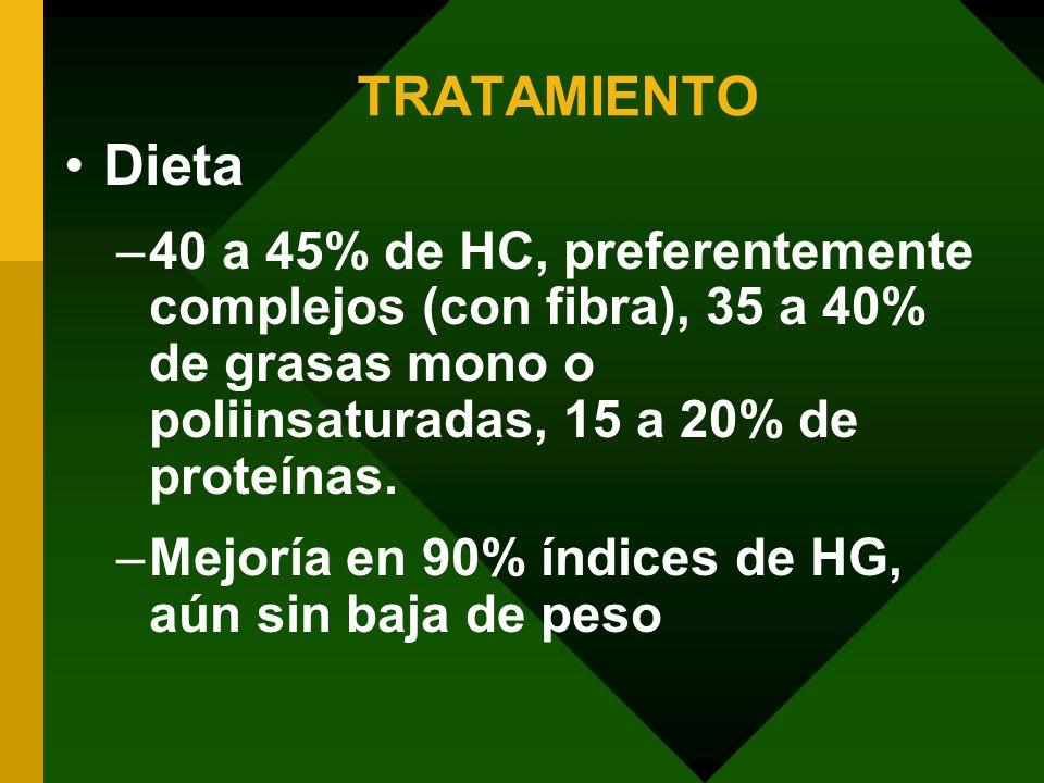 TRATAMIENTO Dieta –40 a 45% de HC, preferentemente complejos (con fibra), 35 a 40% de grasas mono o poliinsaturadas, 15 a 20% de proteínas. –Mejoría e