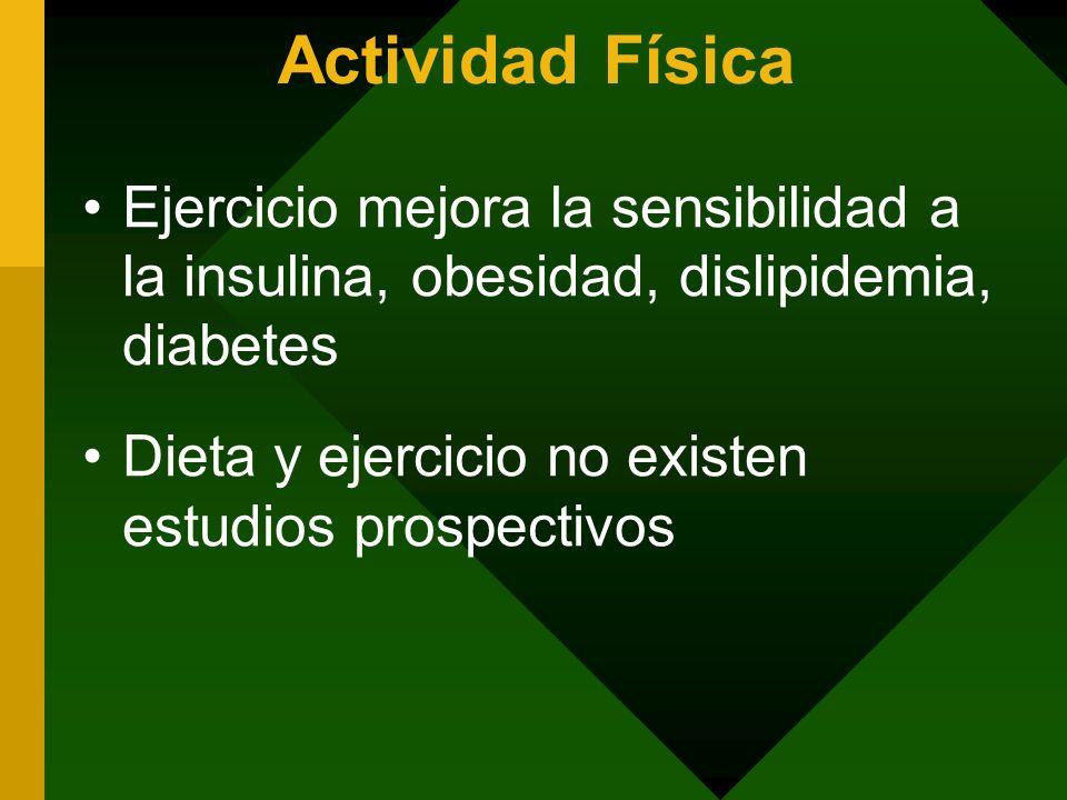 Actividad Física Ejercicio mejora la sensibilidad a la insulina, obesidad, dislipidemia, diabetes Dieta y ejercicio no existen estudios prospectivos