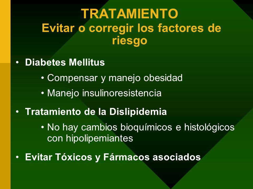 TRATAMIENTO Evitar o corregir los factores de riesgo Diabetes Mellitus Compensar y manejo obesidad Manejo insulinoresistencia Tratamiento de la Dislip