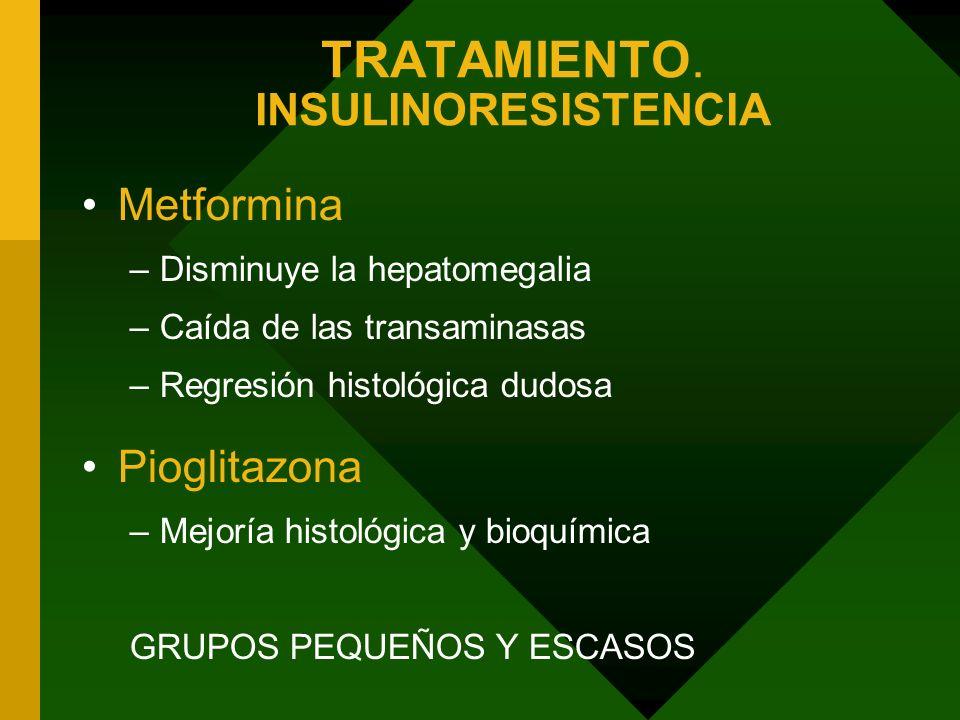 TRATAMIENTO. INSULINORESISTENCIA Metformina –Disminuye la hepatomegalia –Caída de las transaminasas –Regresión histológica dudosa Pioglitazona –Mejorí